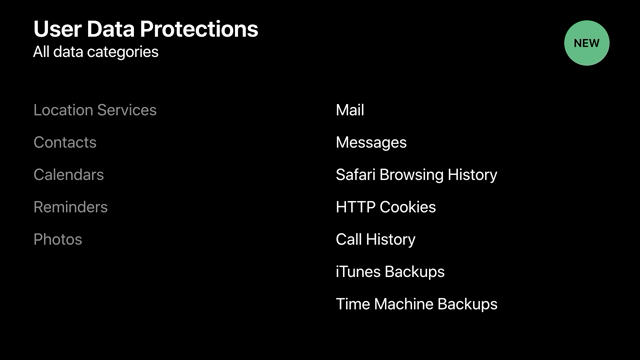 Data categories protected behind an authorization prompt in Mojave