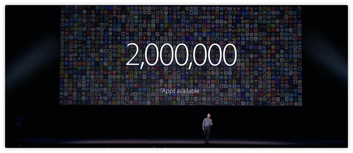 Tim Cook announcing 2 million apps on the App Store at WWDC 2016