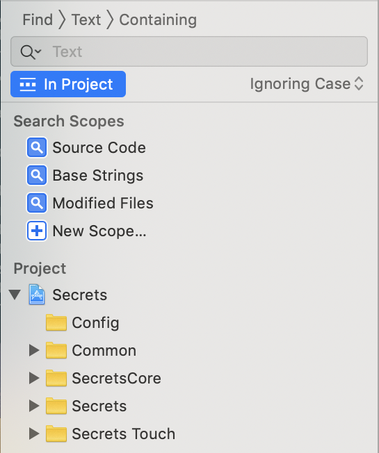 Xcode's search scopes